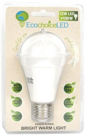 EcochoiceLED 12W Edison Screw Globe Bright Warm Light-Health Tree Australia