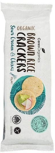 Ceres Organics Brown Rice Crackers Sour Cream & Chives G/F 115g