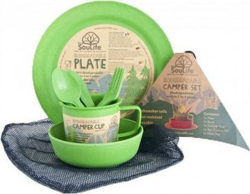 EcoSouLife Bamboo Camper Set Main Plate Green