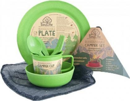 EcoSouLife Bamboo Camper Set Main Plate Green-Health Tree Australia