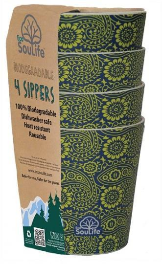 EcoSouLife Bamboo 4Pc Sipper Cup Set Paisley 248ml-Health Tree Australia