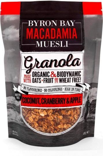 BYRON BAY MACADAMIA MUESLI Granola Coconut, Cranberry & Apple 400g