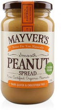 Mayvers Organic Smooth Peanut Butter G/F 375g-Health Tree Australia
