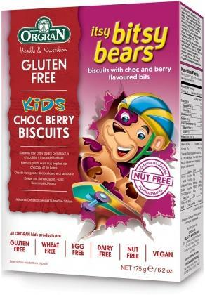 Orgran Kids Itsy Bitsy Bears Choc Berry Biscuits G/F 175g-Health Tree Australia