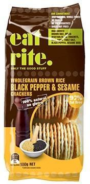 Eat Rite Wholegrain Brown Rice Black Pepper & Sesame Crackers 100g