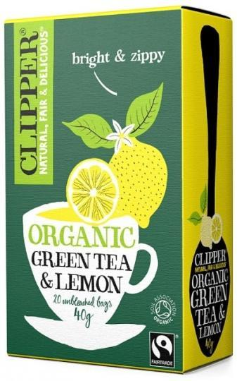 Clipper Fair Trade Organic Green Tea with Lemon 20Teabags-Health Tree Australia