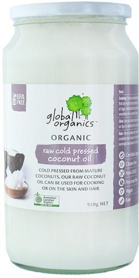 Global Organics Organic Raw Cold Pressed Coconut Oil G/F 920g