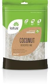 Lotus Organic Coconut Desiccated Fine G/F 250g-Health Tree Australia