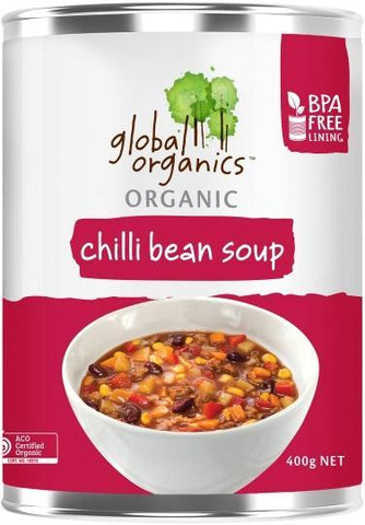 Global Organics Organic Chilli Bean Soup 400g-Health Tree Australia