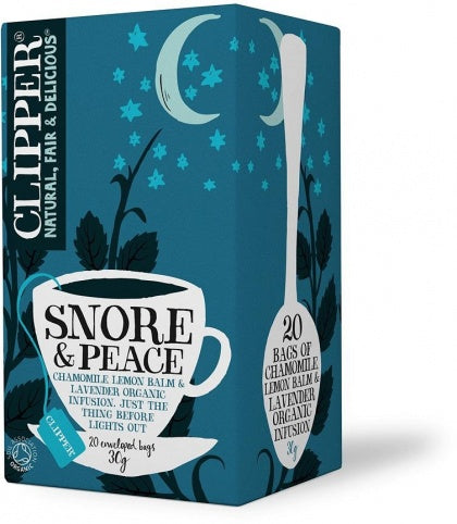 Clipper Snore & Peace - Organic Chamomile, Lemon Balm & Lavender Infusion 30Teabags New