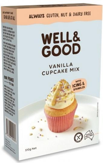 Well And Good Vanilla Cup Cake Mix + Frosting & Colour Sprinkles G/F 510g