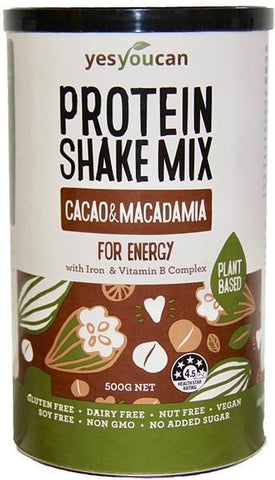 YesYouCan Protein Shake Mix Cacao & Macadamia For Energy G/F 500g New