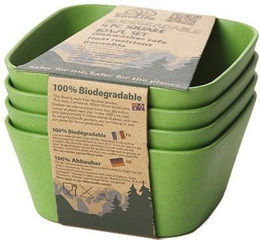 EcoSouLife Bamboo (D13 x H6cm) Square Bowl Set Green 4Pc-Health Tree Australia