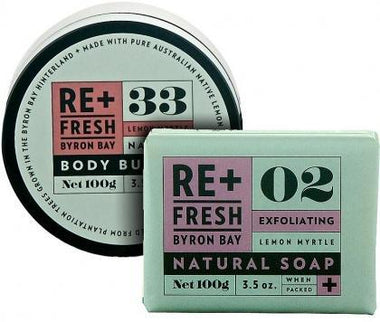 ReFresh Byron Bay Lemon Myrtle BdyButter+ExfoliateSoap-Health Tree Australia