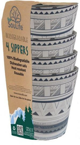 EcoSouLife Bamboo 4Pc Sipper Cup Set Tribal Bliss 248ml-Health Tree Australia