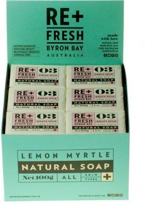ReFresh Byron Bay Lemon Myrtle Goats Milk Soap 100gx24 CDU-Health Tree Australia