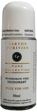 Earths Purities Pure Collection Natural Deodorant Roll On For Her 50g-Health Tree Australia