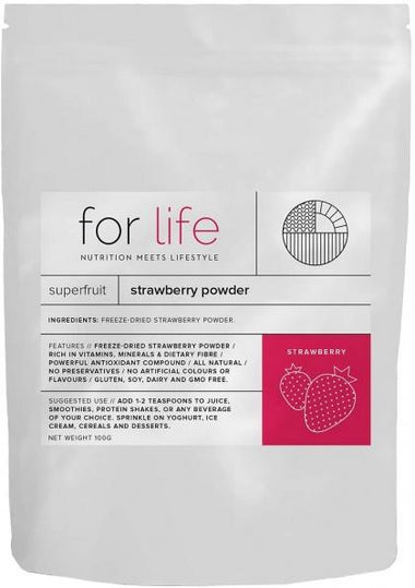 For Life Strawberry Powder 100g New
