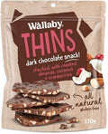 Wallaby Thins Dark Chocolate Snack with Roasted Almonds,Coconut & Cranberries G/F 130g