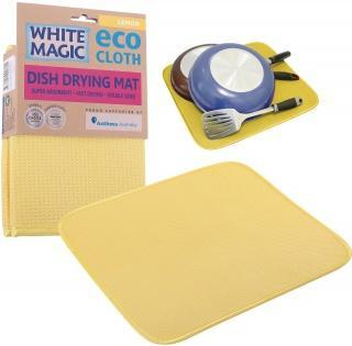 White Magic Eco Cloth Dish Drying Mat Lemon - 40x45cm-Health Tree Australia