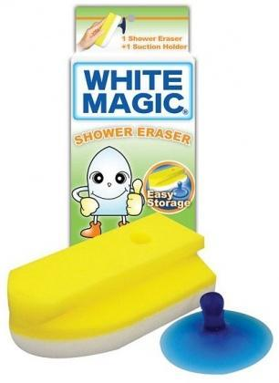 White Magic Shower Eraser Sponge (Sponge+Suction Hook) - 15x7x4cm-Health Tree Australia