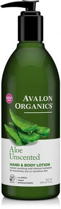Avalon Organics Aloe Unscented Hand & Body Lotion 350ml-Health Tree Australia