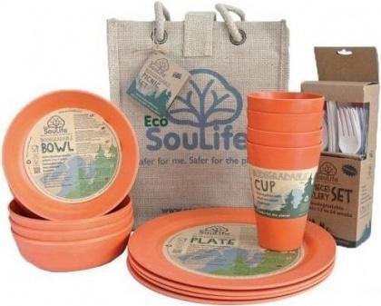 EcoSouLife Bamboo Picnic Set Orange