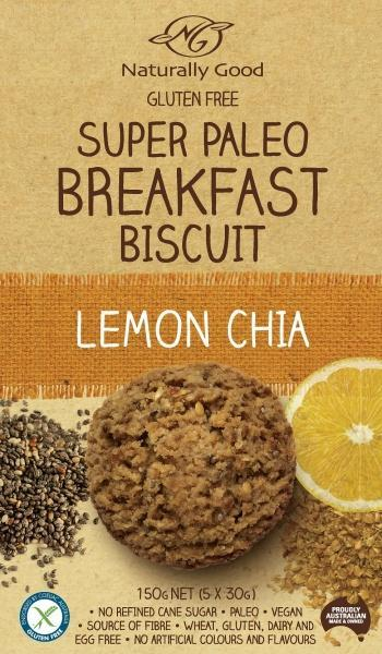 Naturally Good Super Paleo Breakfast Bscuit Lemon Chia (3x50g) G/F 150g
