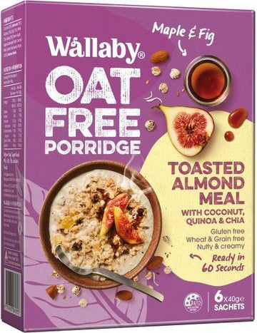 Wallaby Oat Free Porridge Maple & Fig G/F 6x40g Sachets