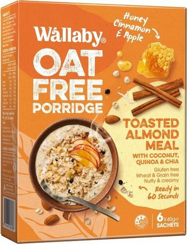 Wallaby Oat Free Porridge Honey Cinnamon & Apple G/F 6x40g Sachets New