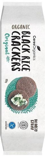 Ceres Organics Organic Black Rice Crackers Thailand's Riceberry G/F 115g