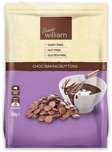 Sweet William Choc Baking Buttons G/F 300g