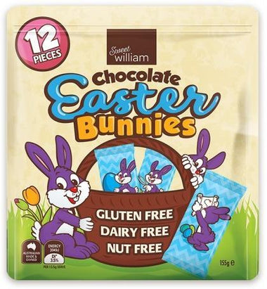 Sweet William Chocolate Easter Bunnies 12Pieces Multipack G/F 155g-Health Tree Australia