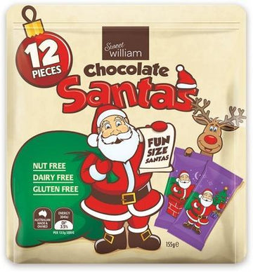 Sweet William Chocolate Santas 12 Mulitpack G/F 155g