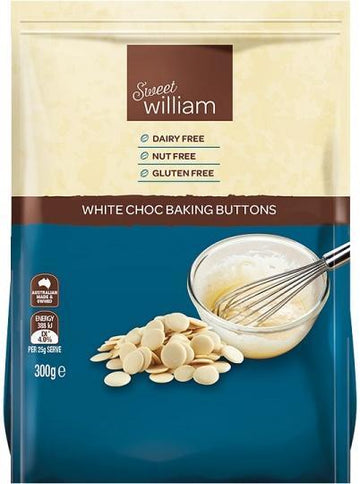 Sweet William White Choc Baking Buttons G/F 300g