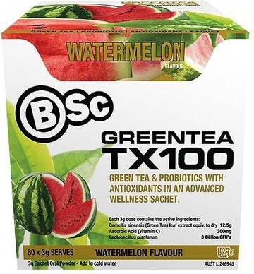 BSc Green Tea TX100 Watermelon 60x3g Serve Pack