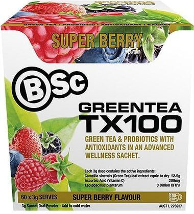 BSc Green Tea TX100 Superberry 60x3g Serve Pack-Health Tree Australia