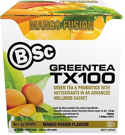 BSc Green Tea TX100 Mango Fusion 60x3g Serve Pack-Health Tree Australia