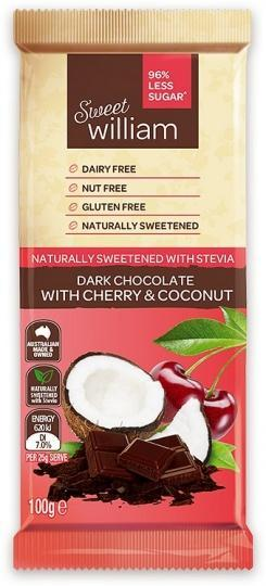 Sweet William NAS Dark Chocolate with Cherry & Coconut G/F 100g-Health Tree Australia