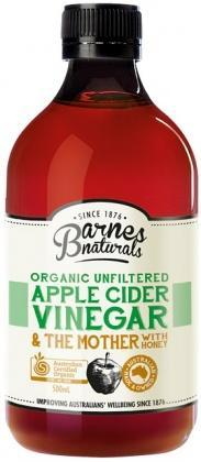 Barnes Naturals Organic Apple Cider Vinegar & Honey & The Mother Glass 500ml-Health Tree Australia