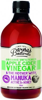 Barnes Naturals Organic Apple Cider Vinegar & The Mother w/Active Manuka 5+ Honey 500ml