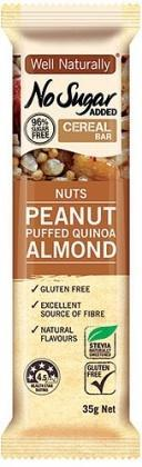 Well,naturally NAS Cereal Bar Nuts Peanut Puffed Quinoa Almond G/F 16x35g
