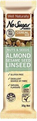 Well,naturally NAS Cereal Bar Nuts&Seeds Almond Sesame Seed Linseed G/F 16x35g