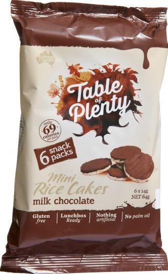 Table of Plenty Milk Chocolate Mini Rice Cakes 6x14g Snack Packs G/F 84g