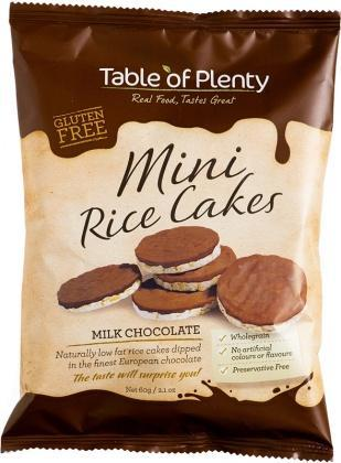 Table of Plenty Milk Chocolate Mini Rice Cakes G/F 60g-Health Tree Australia