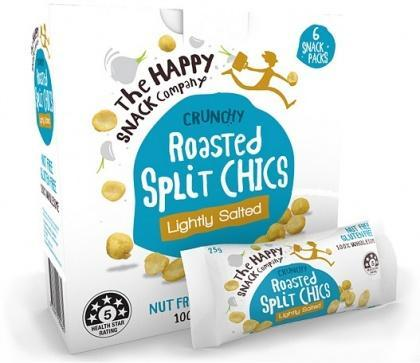 The Happy Snack Company Roasted Split Chics Lightly Salted 6x25g Box-Health Tree Australia