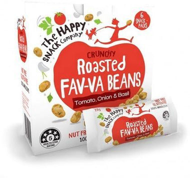 The Happy Snack Company Roasted Fav-va Beans Tomato Onion & Basil 6x25g Box-Health Tree Australia