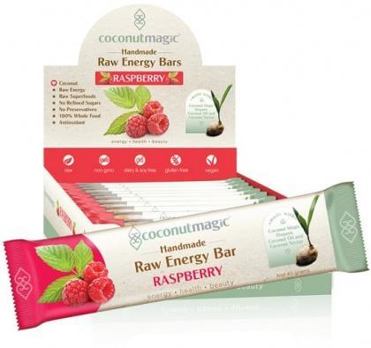 Coconut Magic Raw Energy Bars Raspberry 12x45g-Health Tree Australia