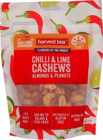 Harvest Box Chilli & Lime Cashews Almonds & Peanuts G/F 140g