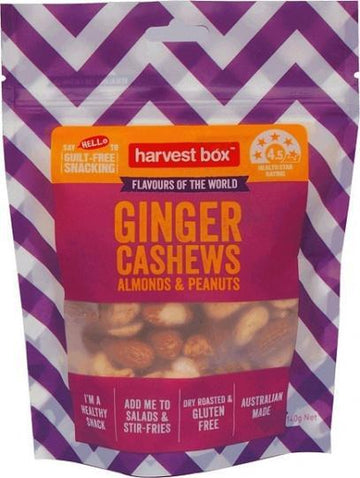 Harvest Box Ginger Cashews Almonds & Peanuts G/F 140g